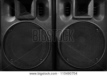 Big black loudspeakers, close up