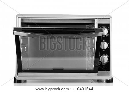 Opened kitchen oven, isolated on white