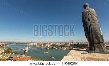 BUDAPEST, HUNGARY - CIRCA SEP, 2015: Panorama of the Danube river in centre of Budapest. Pest panorama of the Danube - UNESCO world heritage site.
