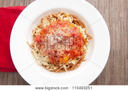 Tomato Sauce On Whole Wheat Pasta With Cheese