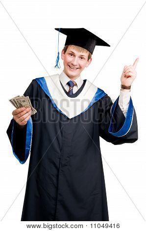 Smiley Graduate Student In Cloak With Money