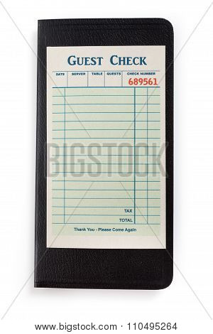 Blank Guest Check concept of restaurant expense.