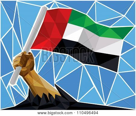 Arab Man Arm Raising The National Flag Of United Arab Emirates