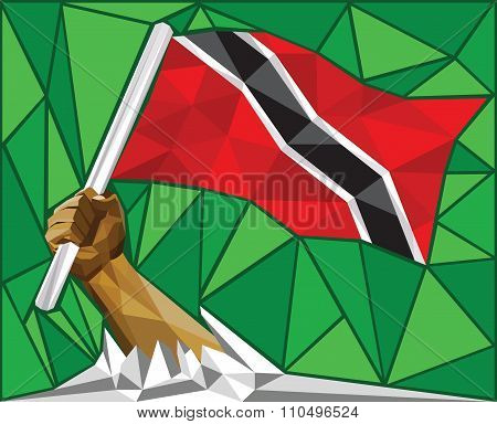 Strong Hand Raising The Flag Of Trinidad And Tobago