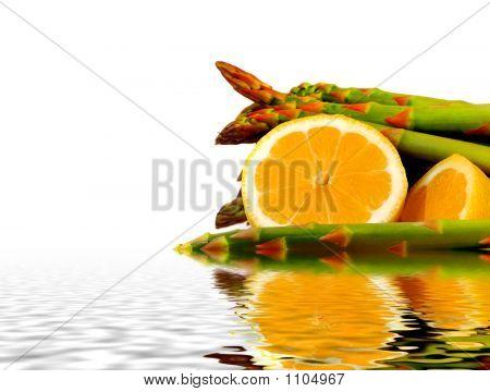 Fresh Lemon And Asparagus