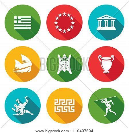 Greece Icons Set. Vector Illustration.