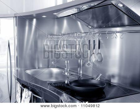 Cocina plata fregadero y placa de cocina vitrocerámica