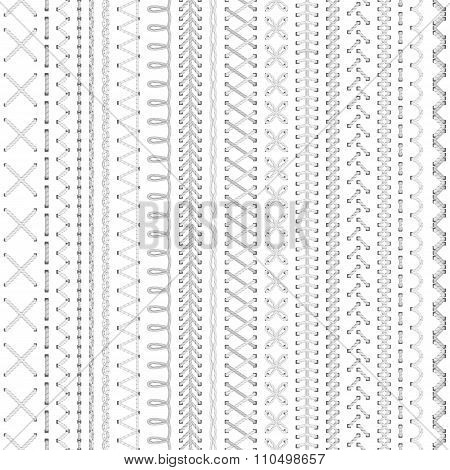 Seamless White Embroidery Pattern.