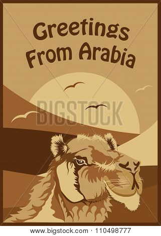 Woodcut Style Greetings From Arabia Art Illustration