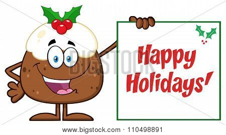 Christmas Pudding Character Presenting A Sign With A Holly Corner And Text