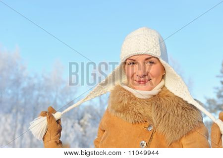 Beautiful woman enjoying winter day