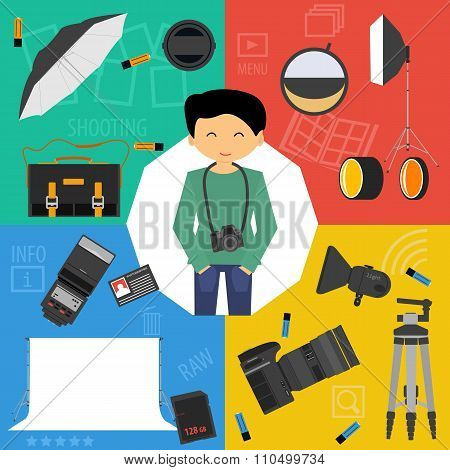 Vector Set Icons Photographic Equipment
