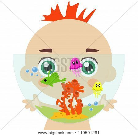 Boy is carrying his aquarium.