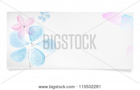 Paper Card With Abstract Watercolor Blue And Pink Flowers