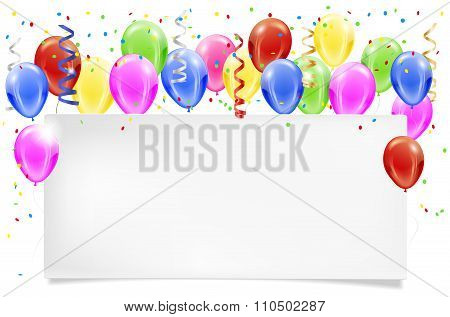 Party Paper Invitation With Balloons And Confetti Flying