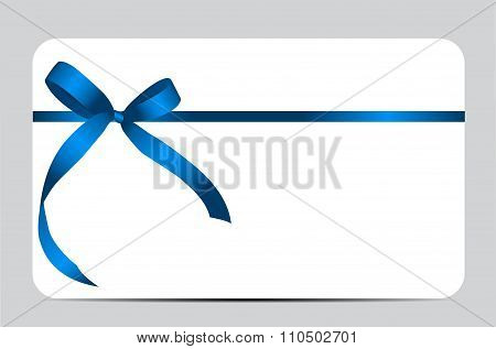 Gift Card with Blue Ribbon and Bow. Vector illustration