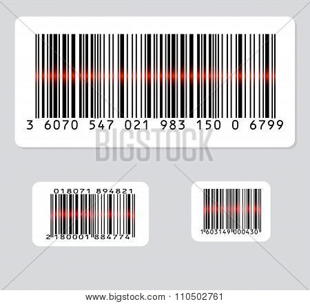 set of three barcode with red laser