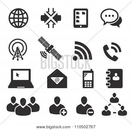set of sixteen communication icons