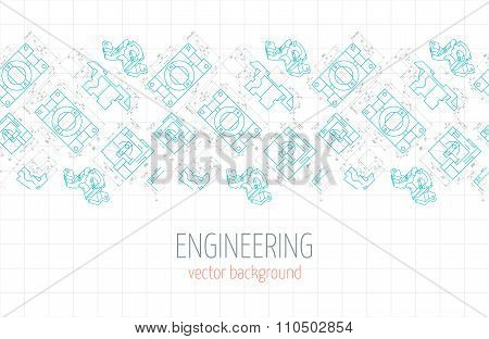 Horizontal Poster, Cover, Banner, Background Of Blue Engineering Drawings Of Parts. Vector