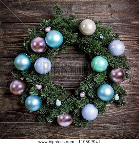 Advent Christmas Wreath On Wooden Door Decoration