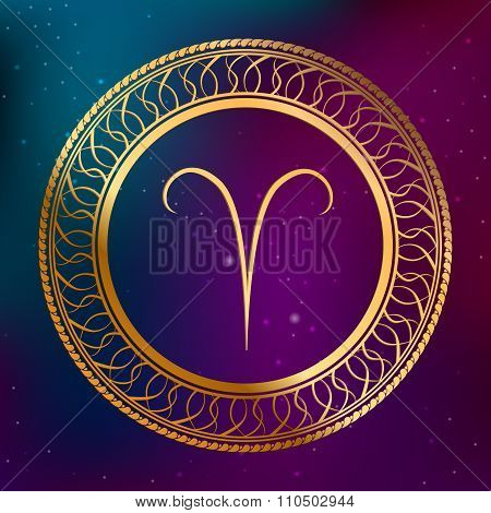 Abstract background astrology concept gold horoscope zodiac sign Aries circle frame illustration vec