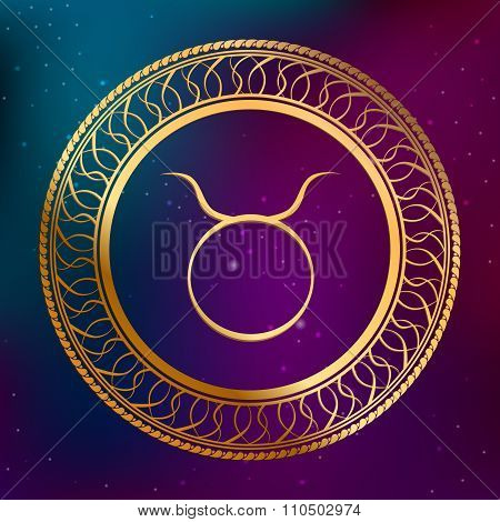 Abstract background astrology concept gold horoscope zodiac sign Taurus circle frame illustration ve