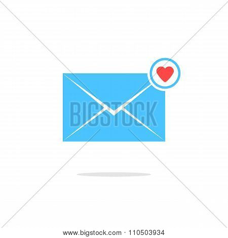 simple blue letter icon with red heart sign and shadow