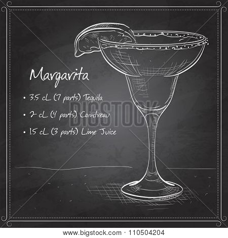 Classic margarita cocktail with lime slice and salty rim Margarita on black board