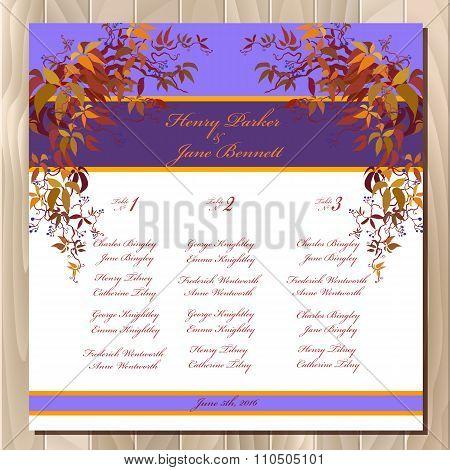 Table guest list. Autumn wild grape background. Wedding design template.
