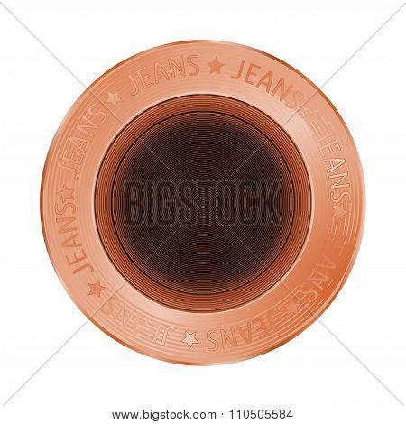 Vector Denim Bronze Sewing Button In Vintage Style