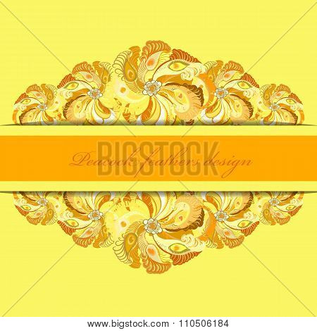 Yellow orange peacock feathers pattern background. Text place.