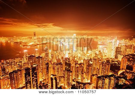 Hong Kong downtown at night