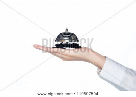 Woman Hand Holding Service Bell , Receptionist