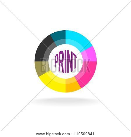 Print Shop Round Logo Template