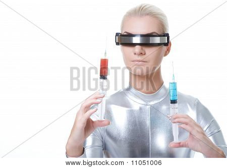 Attractive cyber woman with different syringes