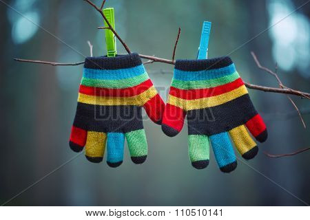 Little Baby Mittens/gloves Hanging By A Thread