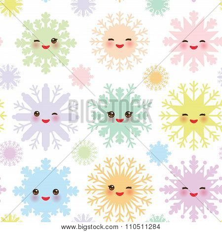 Christmas design seamless pattern, Kawaii snowflake set blue mint orange pink lilac funny face with