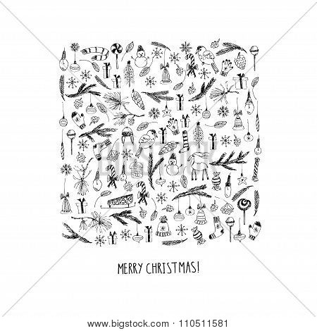 Hand Drawn Christmas Doodle Card With Square Composition