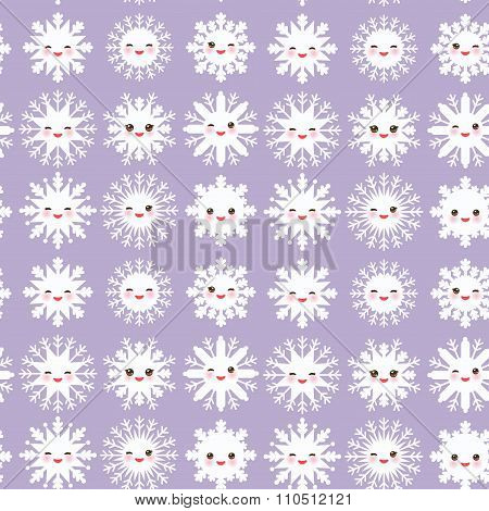 seamless pattern, Kawaii snowflake set white funny face with eyes and pink cheeks on light purple vi