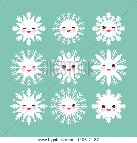 Kawaii snowflake set white funny face with eyes and pink cheeks on blue mint background. Vector