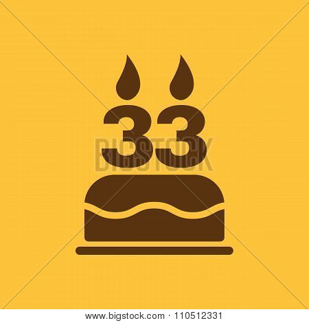 The birthday cake with candles in the form of number 33 icon. Birthday symbol. Flat