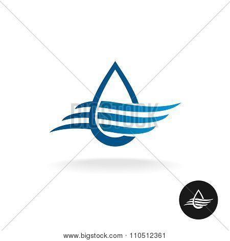 Water Drop With Waves Elegant Logo