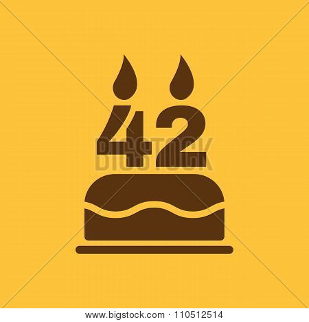 The birthday cake with candles in the form of number 42 icon. Birthday symbol. Flat