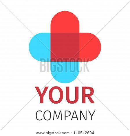 Pharmacy, Medicine, Healthcare cross abstract vector logo design template.