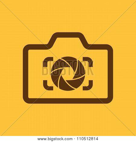 The camera icon. Photo and diaphragm, photographer, photographic symbol. Flat