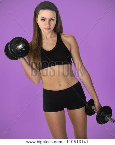 Female Using Iron Hand Weights