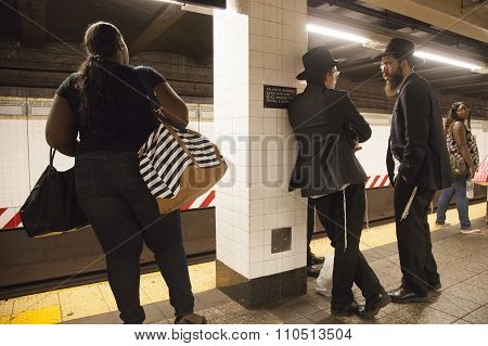 Orthodox Jes And African American Passengers Wait On Platform Of Subway Station Atlantic Avenue Barc