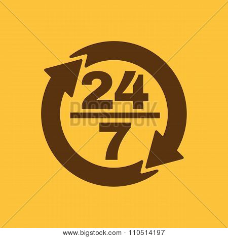 The 24 7 icon. Open and assistance, support symbol. Flat