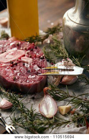 Closeup, Onions, Romero, Fresh Meat Steak, Salt, Pepper, Garlic, Olive Oil,fork