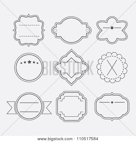Cute and different stylish black empty outline template emblems and tags set